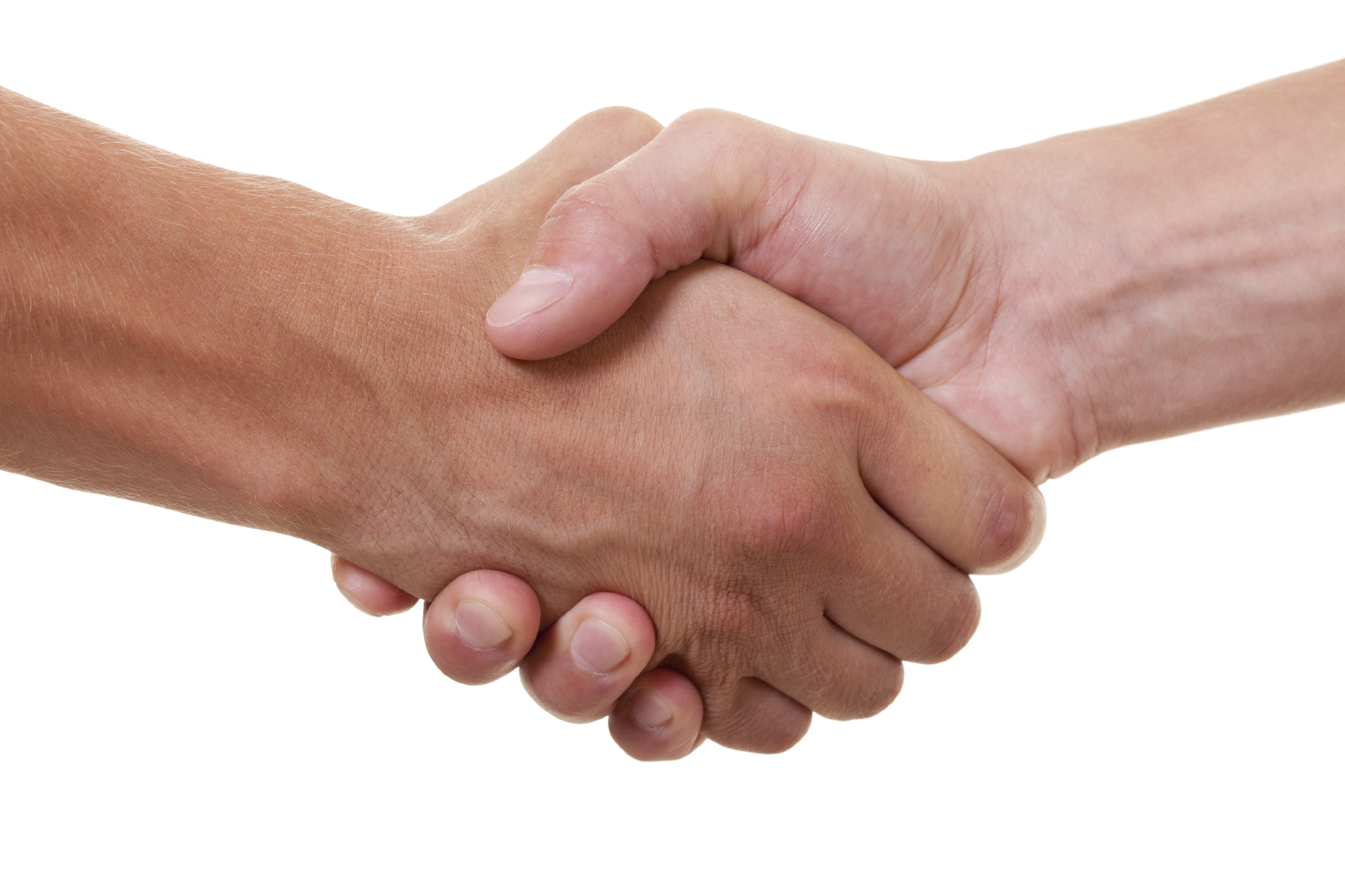 friendly handshake on white background