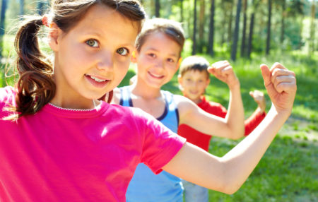 Kids Flexing Muscles