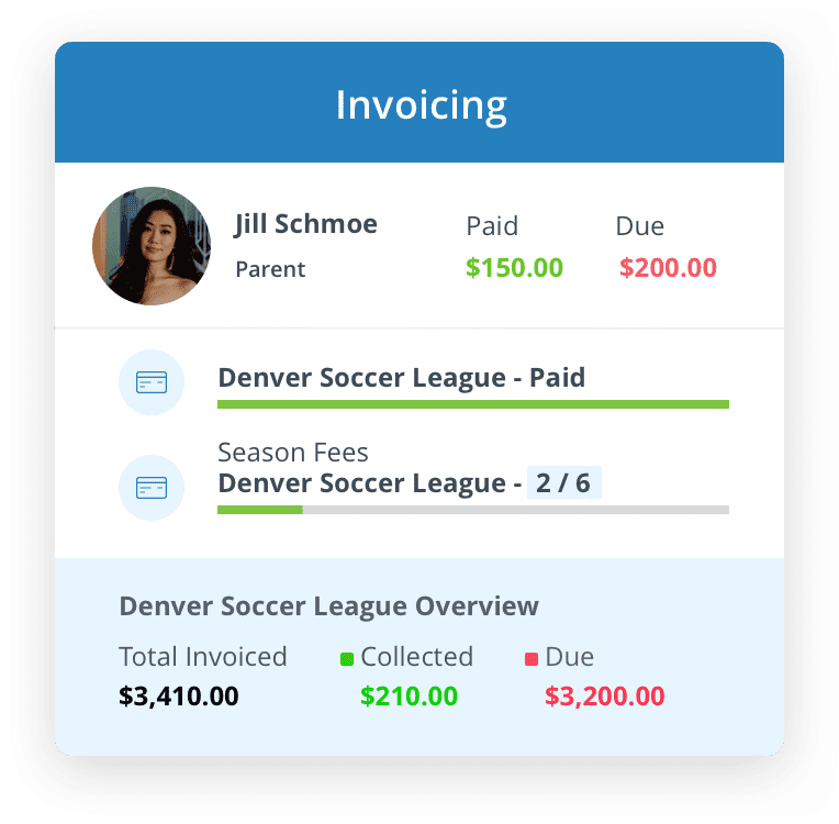 Handle all of your payment and invoicing needs for your sports org