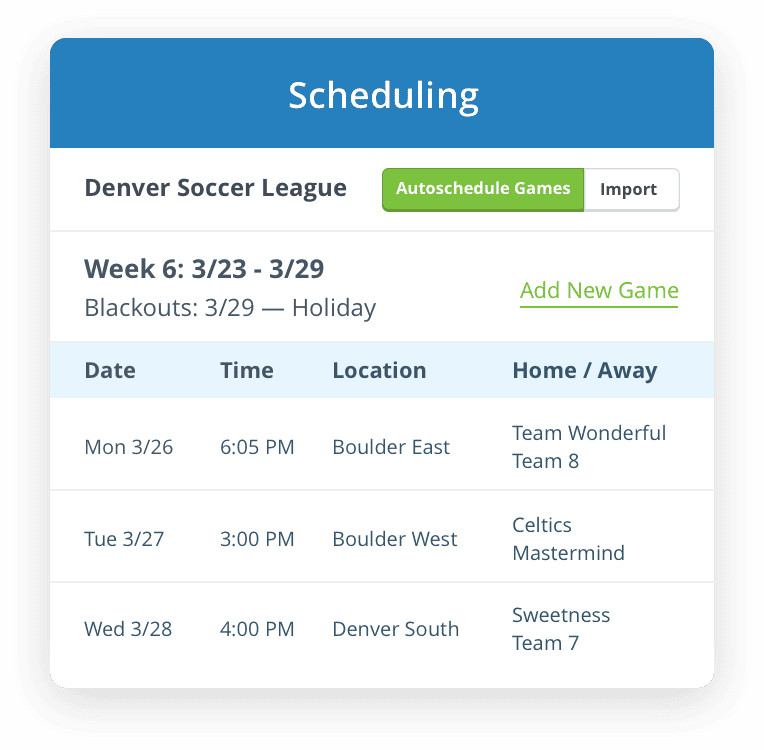 Autoschedule games and practices with TeamSnap