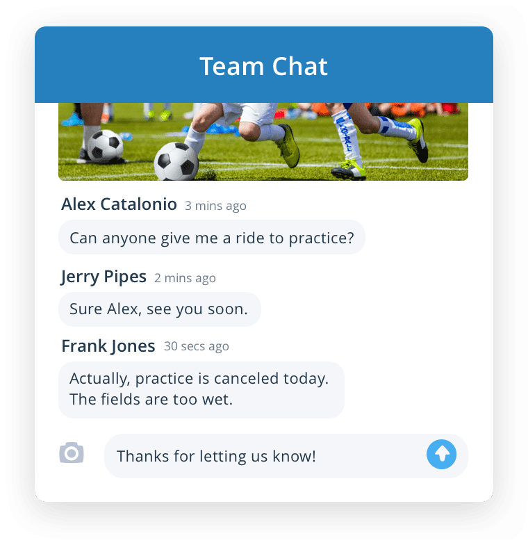 Chat with your team easily with our sport software