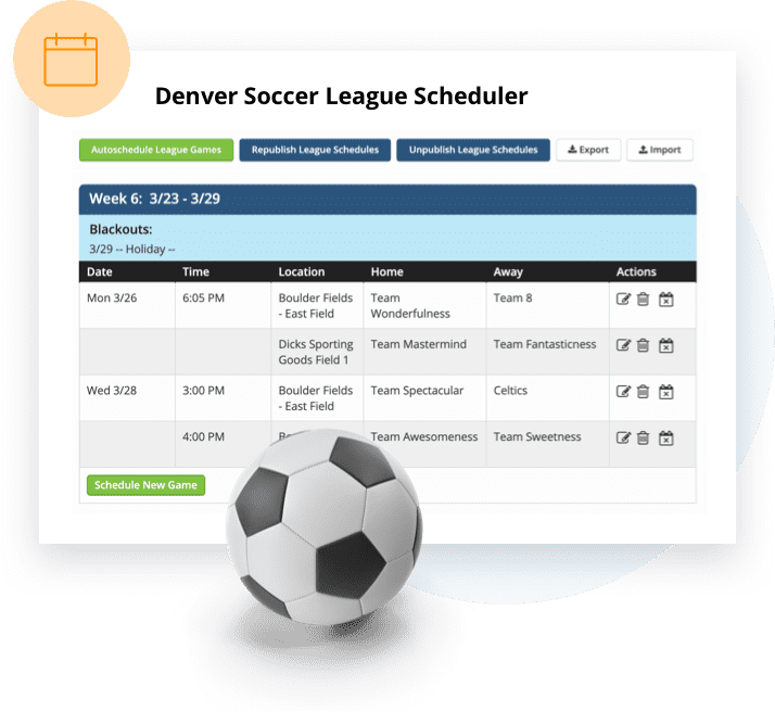 TeamSnap's league scheduling feature