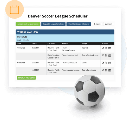 TeamSnap Club & League soccer scheduling feature