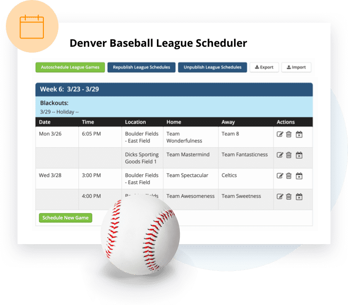 TeamSnap Club & League softball scheduling feature