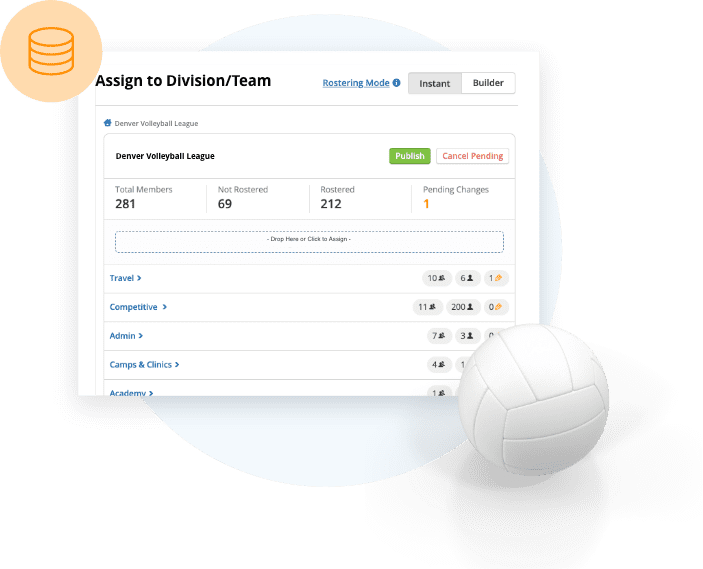 TeamSnap Club & League volleyball rostering software feature