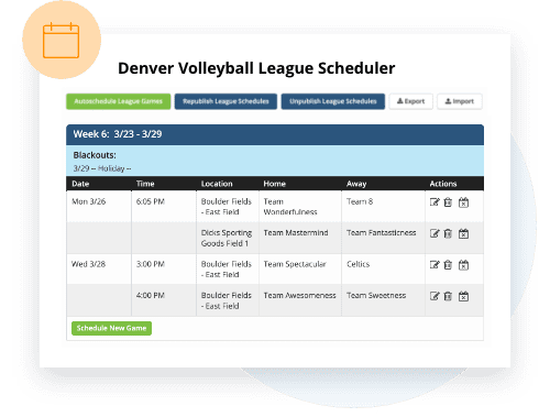 TeamSnap Club & League volleyball scheduling feature