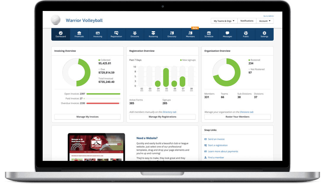 volleyball League Management Software made easy by TeamSnap